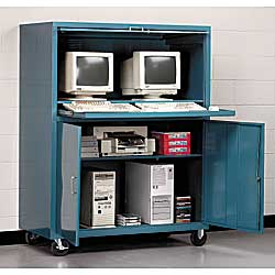 Double-wide design offers plenty of room to house two complete computer workstations. 50 W x 24 D x 64 H unit features all-welded construction and locking ... & Computer Cabinets In Stock